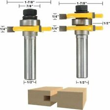 """2Bit Tongue and Groove Router Bits Set - 1/4"""" Shank Cutting Height 3/4"""" PC Box O"""