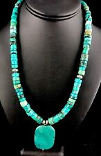 Native American Sterling Silver Turquoise Heishi Bead Necklace Pendant