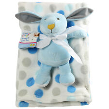 Baby Boy Fleece Blanket Cot Pram Travel babies teddy toy comfort Machine Wash