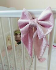 Small crushed velvet Cot Bow / curtain tie back x 1 Pink