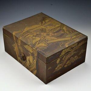 Antique Japanese Lacquer Ryoshibako Document Box with Tokugawa Mon Handles