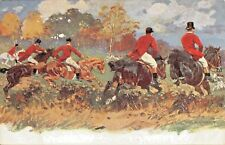 FOX HUNTING-HORSES AT THE HEDGE JUMP-A HOFFMAN ARTIST SIGNED POSTCARD 1900s