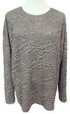 Zara Special Edition Top Stretch Knit Long Sleeve Silver Gunmetal Gray sz Small