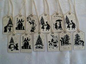 12 Anhänger-Geschenkanhänger-Tags-Vintage-Nostalgie-Weihnachten-Silhouette-20031