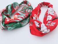 Women Red Flower Boho Bohemian Cross hair head headband band Scarf Wrap Bandana
