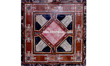 """30"""" Marble Office Table Top Decorative Furniture Mosaic Inlay Home Decor H5633"""