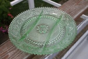 Tiara Glass Vintage 3 Section Green Divided Plate