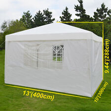 10'X13'Ez Pop Up Wedding Party Tent Folding Gazebo Beach Camping Canopy w/sides