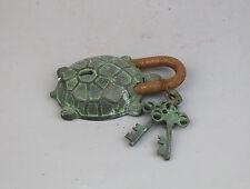 Old bronze copper carved tortoise figure China lock w key