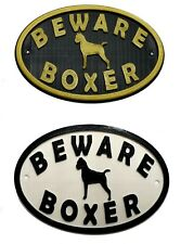 Boxer & Motif Beware Dog Sign - House Garden Plaque