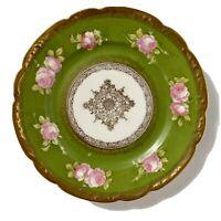 Antique O&EG Royal Austria Plate Deep Green, Gilt, Floral