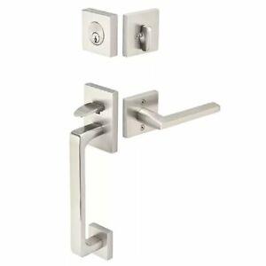 Emtek 4820US15 Baden Sectional Single Cylinder Keyed Entry Handleset, Satin Nick