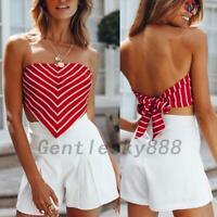 Red Heart Shape Striped Women Strapless Crop Tube Top Tank Vest Backless Beach