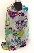 New Chiffon Scarf Women's Fashion Style Shawl Wrap Elegant Tree Printed White