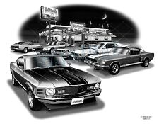 "MUSTANG 66,69,70 MUSCLE CAR ART AUTO PRINT  #2105 ""FREE USA SHIPPING"""