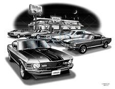 "MUSTANG 66,69,70 MUSCLE CAR ART AUTO PRINT  #2105 ""FREE USA SHIPPING"""