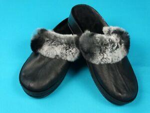 Natural Sheep's Sheepskin Wool Black Chinchilla fur Slippers Woman Warm Shoes