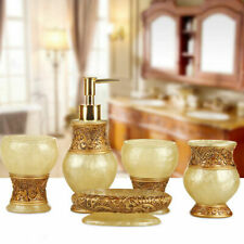 Bathroom 5pcs Accessories Set Lotion Bottle Soap Dish Cup Toothbrush Resin Style