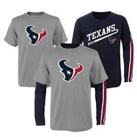 """Houston Texans NFL Boys Grey/Navy """"Squad"""" Long/Short Sleeve Shirt Set"""