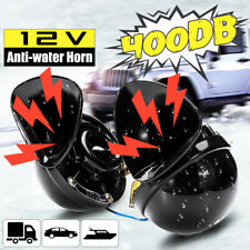 2PCS 12V 350dB Universal Dual Electric Bull Horn Super Loud Super Sound Black US
