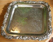 "Sheffield Silver Co # 205 Silverplate Server Square Footed Tray 14"" Made in USA"