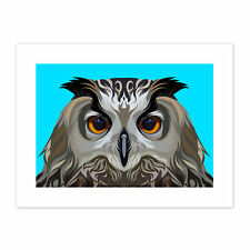 Owl Illustration On Blue  Print Canvas Premium Wall Decor Poster