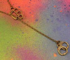 Bronze Brass Knuckle Duster & Handcuffs Pendant Chain Necklace Gangster Punk