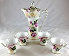 Nippon Porcelain Victorian Style Lush Pink Roses Gold Trim Teapot Cups Mocha Set