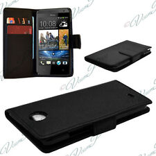 Case Cover Covers Folding Wallet Leather Black Films for HTC Desire 601