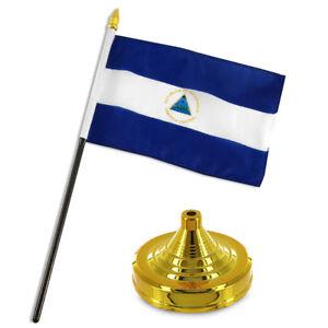 """Nicaragua 4""""x6"""" Flag Desk Set Table Stick Gold Base"""