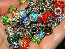 NEW 100 Large Hole Metal & Crystal Fancy spacer charm European Beads LOT(Eb100)