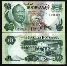 BOTSWANA 10 PULA P4 B 1976 ZEBRA UNC RARE LOW NUMBER 000006 CURRENCY MONEY NOTE