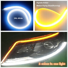 """60cm 24""""Ultrathin Flexible Ribbon Style 2-Colors White Amber Flowing Turn Signal"""