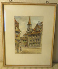 Stunning Framed Landscape European Cityscape Water Color Painting #1