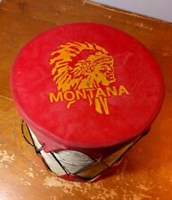 Small Drum Percussion Montana Native American Red Faux Wood