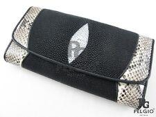 PELGIO Real Genuine Stingray Python Snake Skin Leather Clutch Wallet Purse Black