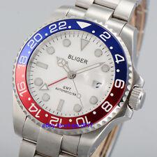 40mm Sapphire Glass White Dial Bliger Men's GMT Automatic Luminous Watch Parnis