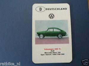 AUTO DEUTSCHLAND VOLKSWAGEN 1600TL VW KWARTET KAART, QUARTETT CARD,SPIELKARTE