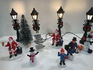 Christmas Village Scene Figure Set. Lamp posts Snowmen Santa Tree. Collectables