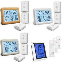 Luftfeuchtigkeit Innen Außen Thermometer Digital LCD Temperatur Mit 3 Sensors