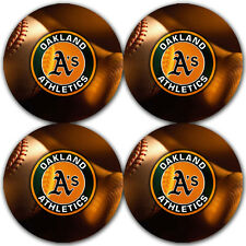 Oakland Athletics Baseball Rubber Round Coaster set (4 pack) / RNDRBRCSTR2019