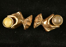 """Two VTG Gold Tone Metalized Plastic Sewing Buttons Clown Hands Holding Ball 1"""""""