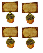 Bethany Lowe Fall Autumn Bounty Beaded Acorn Placecard Holder Ornament, Set of 4