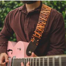 Tigerwood Gordo Guitar Strap   Brown   Custom Premium   Acoustic  Electric Bass