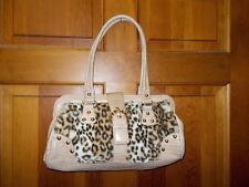 Kathy Van Zeeland Handbag Faux Leopard Fur Light Beige Trim & Wallet - NWOT