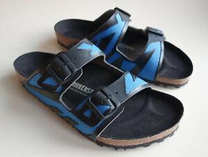 BIRKENSTOCK RUBBERIZED-Leather Sandals ARIZONA Black-Blue US13-13.5 EU46 UK12 R