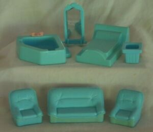 7 vintage Mid-Century blue plastic DOLL HOUSE FURNITURE couch chairs bed tub +