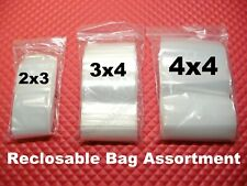 300 Reclosable Plastic Seal Top 3 Size Assortment 2x3 3x4 4x4 Small Bags