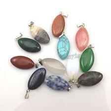 24pcs Eye Shape Semi-precious Stone Pendant For Necklace DIY Mixed Lot