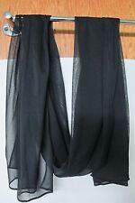 "Fashion Scarf Black Long Chiffon Wrap Scarf 18"" x 70"" New in Package"